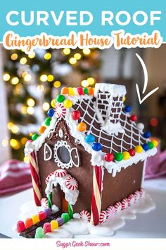 How to make a gingerbread house with a curved roof, curved front porch and how to bake gingerbread in silicone molds. Use this construction grade gingerbread house recipe to make super strong gingerbead pieces that won't collapse and will last for months! I love making gingerbread houses for Christmas and this one is so fun and easy once you know how! #christmas #gingerbreadhouse #candy