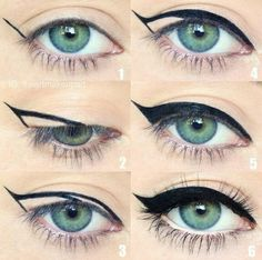 Winged eyeliner is a whole lot easier with this trick. To get the perfect flick … Winged eyeliner is a whole lot easier with this trick. To get the perfect flick in Step hold your eyeliner… Eyeliner Hacks, How To Apply Eyeliner, Makeup Hacks, Makeup Ideas, Makeup Tutorials, Easy Eyeliner, Perfect Eyeliner, Beauty Tutorials, Eyeliner Application