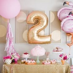 A flamingo themed birthday party also doubles as an adorable baby shower theme! (via Kara's Party Ideas) Flamingo Party, Flamingo Birthday, Gold Birthday, Birthday Balloons, First Birthday Parties, Birthday Party Themes, First Birthdays, Birthday Invitations, Birthday Banners