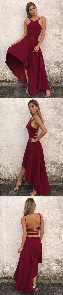 Simple A line high low long prom dress, evening dresses – trendty