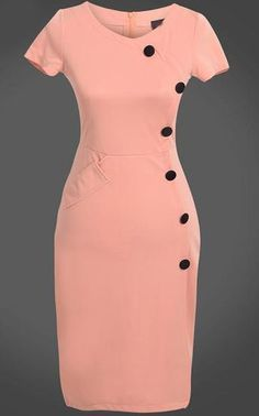 To find out about the Pink Short Sleeve Slim Buttons Bodycon Dress at SHEIN, part of our latest Dresses ready to shop online today! Elegant Dresses, Casual Dresses, Short Dresses, Office Dresses For Women, Clothes For Women, Official Dresses, Dress Outfits, Fashion Outfits, Latest African Fashion Dresses