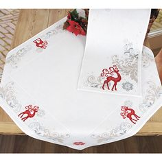 Red Reindeer Tablecloth - Cross Stitch, Needlepoint, Embroidery Kits – Tools and Supplies