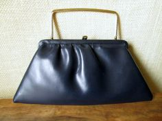 vintage navy blue clutch bag or handbag - faux leather