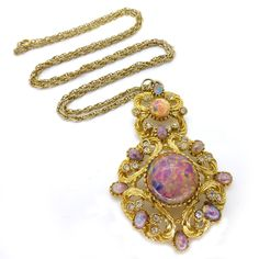 Vintage Sphinx Gold Tone Opalescent Glass Stone Necklace  | Clarice Jewellery | Vintage Costume Jewellery