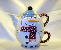 Holiday Snowman Tea For One Stacking Cup And Tea Pot Set  Offered by #MKDesigner on Bonanza.com