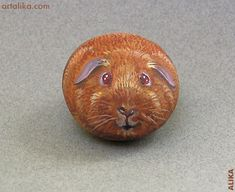 Hand painted rock ( stone) Guinea pig