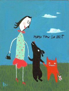 Funny Mothers Day Card, Mama You Da Best - Whimsical Cat and Dog Fun