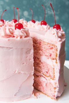 Cakes To Make, How To Make Cake, Köstliche Desserts, Delicious Desserts, Dessert Recipes, Cherry Desserts, Layer Cake Recipes, Creative Desserts, Food Cakes