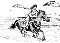 projíždka na koni - perokresba