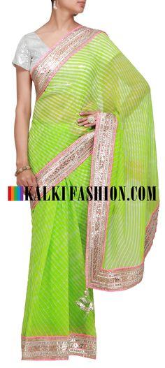 Buy it now http://www.kalkifashion.com/green-saree-with-gotta-patti-lace.html Green saree with gotta patti lace