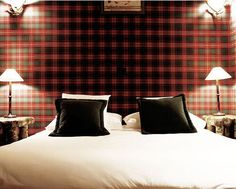 Rustic chic tartan at Le Lodge Park Hotel, France Tartan Wallpaper, Country Retreats, Antler Lamp, Cabin Chic, Park Hotel, Park Lodge, Rustic Style, Rustic Chic, Modern Rustic