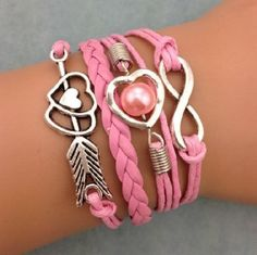 Stacked MultiLlayered Trending Wrap Bracelet With # Charms Pink Pearl And Adjustable Lobster Claw Chain