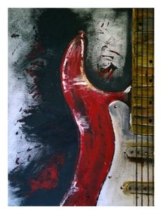 guitar painting on canvas by LittleArtShack on Etsy