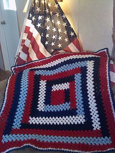 Patriotic Lapghan - free crochet pattern by Roberta Duley. Log cabin type square.