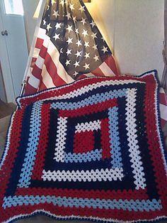 Patriotic Lapghan - free crochet pattern by Roberta Duley. Log cabin type square.