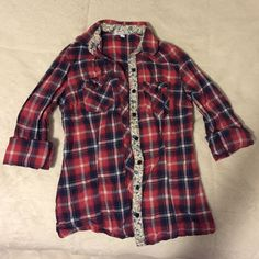 Delia's flannel print button down Bought from Delia's! Super cute button down with red flannel print! Delias  Tops Button Down Shirts