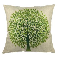 Come2buy - Durable Machine Washable Cotton Linen Green Big Tree Throw Pillow Case Cushion Cover Decorative Insert Not Included: Amazon.co.uk: Kitchen & Home