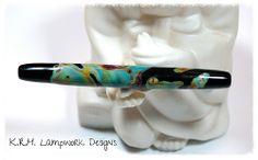 "K.R.H. Lampwork Designs ~ 4 1/4"" Striking Color Shard Tube Bead"