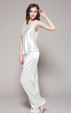 f4e8b98a08cff Ensemble Pyjama En Soie Pour Femme blanche, 6 couleurs Pyjama Femme, Femme  Sexy,