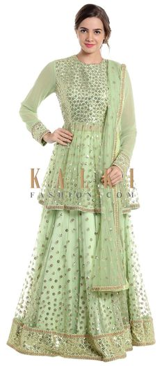 Light green net lehenga and blouse adorned with sequins only on Kalki Saree Blouse Neck Designs, Lehenga Designs, Blouse Designs, Long Choli Lehenga, Net Lehenga, Green Lehenga, Pakistani Formal Dresses, Indian Dresses, Indian Outfits