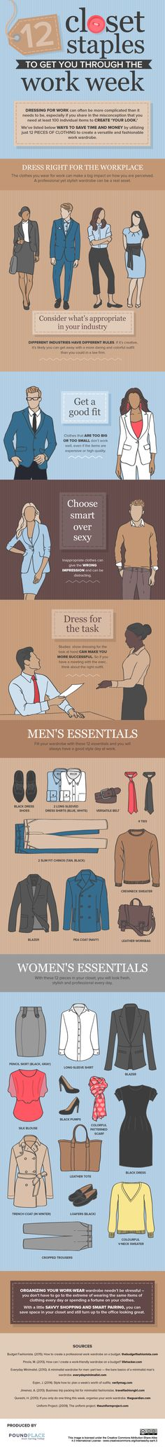12 Closet Staples To Get You Through The Work Week #Infographic #Fashion #Design