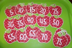 Doodle Bugs Teaching {first grade rocks!}: Math Centers - Counting by 5's apples