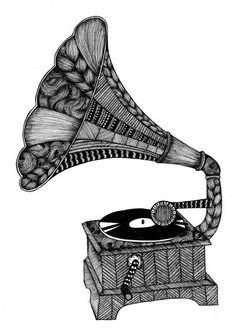 Grammofon 50x70cm av #Tovelisa på #NordicDesignCollective #poster #black