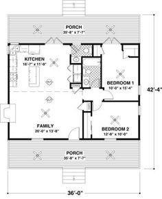 Cottage 2 Beds 1.5 Baths 954 Sq/Ft Plan #56-547 Main Floor Plan - Houseplans.com