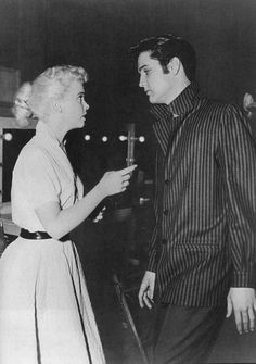 "Yvonne Lime and Elvis on the set of ""Loving You"" 