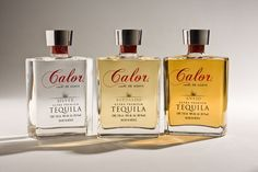 Calor Tequila — The Dieline - Branding & Packaging PD Mezcal Tequila, Tequila Bottles, Bottle Design, Glass Design, Drinks Cabinet, Packaging Design Inspiration, Brand Packaging, So Little Time, New Product