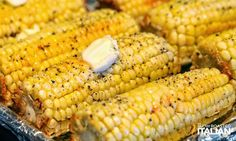 SERVES 8 | ACTIVE TIME 10 Min | TOTAL TIME 55 Minutes 8 ears corn, cleaned 1 stick (8 tablespoons) unsalted butter, room temperature kosher salt, to taste fresh ground black pepper, to taste Prehe