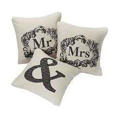 Set of 3 Love Couples Cotton/Linen Decorative Pillow Cover – USD $ 39.99