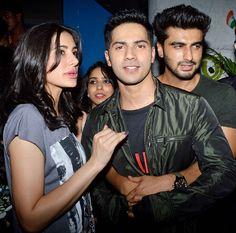 Nargis Fakhri with Varun Dhawan and Arjun Kapoor at 'Badlapur' wrap-up bash…