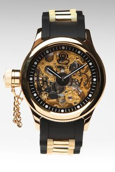 INVICTA 47MM RUSSIAN DIVER LEFTY WATCH BLACK/GOLD