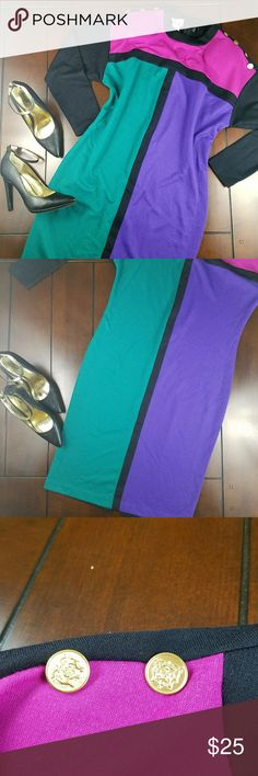 2/$12 Sale Retro Shortsleeve Colorblock Dress Available preloved with no flaws. Size 12 Tall. Via Sant Andrea Dresses