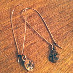 Coppper Man in the Moon Earrings by willa on Etsy, $10.00