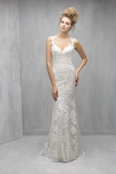 Lace wedding dress idea - Sheath gown is incredibly ethereal and delicate, with whispers of lace and an illusion back. Style MJ260 from @allurebridals