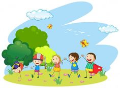 Kids playing in the garden illustration royalty free cliparts