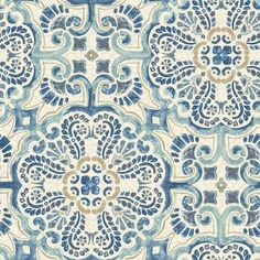 Brewster Home Fashions Blue Florentine Tile Peel & Stick Vinyl Wallpaper Vinyl Wallpaper, Wallpaper Samples, Wallpaper Roll, Peel And Stick Wallpaper, Temporary Wallpaper, Adhesive Wallpaper, Iphone Wallpaper, Peelable Wallpaper, Mosaic Wallpaper