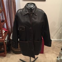 Black distressed leather jacket w quilt lining. Black distressed leather jacket w quilt lining. Size LG made in India area around seams brown distressed look. Very heavy and warm jacket.   Large pockets on front. Great condition and Great Buy! Siena Studio Jackets & Coats
