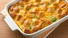 An easy prep egg bake with ham, broccoli, biscuits and cheese.  Perfectly delicious for brunch!