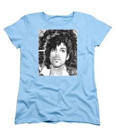 Women's T-Shirt (Standard Cut) - Prince - Tribute Sketch In Black And White 3