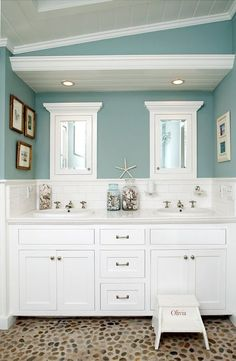 Inspiration from Bathrooms.com: Nautical bathroom summer blue beach home decor ocean white fresh nautical theme
