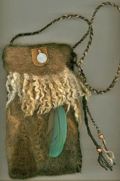 Boudicca  wet  felted bag by ThistleWoolworks on Etsy