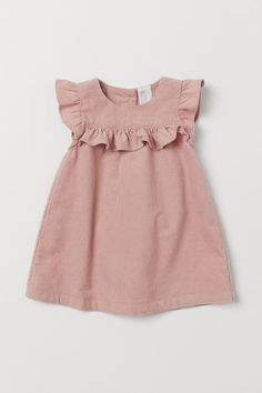 Butterfly-sleeved Dress Dress in woven cotton fabric. Short butterfly sleeves, yoke with decorative gathers, and buttons at back. Frocks For Girls, Little Girl Dresses, Girls Dresses, Dress Girl, Cute Baby Dresses, Dresses For Toddlers, Little Girl Clothing, Cute Baby Girl Clothes, Baby Girl Pink Dress