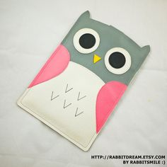 Owl Pink Grey Kobo Touch Case / Kobo GLO Cover / Kobo ARC Sleeve (Faux Leather)