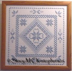 """My finished """"Cathy"""".  Pattern from Teach Yourself Hardanger Embroidery, Leisure Arts leaflet #330."""