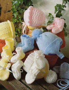 vintage knitting pattern PDF baby layette set booties hats lace bonnets mittens dk prem to 12 months