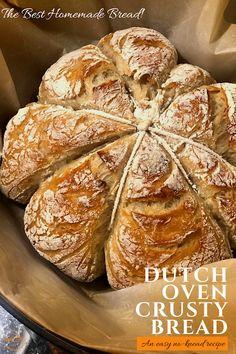 An easy, no-knead, Dutch oven crusty bread recipe. 4 Ingredients. So easy you'll never buy bread again! #homemadebread #crustybread #dutchovenbread Artisan Bread Recipes, Dutch Oven Recipes, Quick Bread Recipes, Banana Bread Recipes, Baking Recipes, Best Bread Recipe, Recipe 4, Dutch Oven Bread, Bread Bun