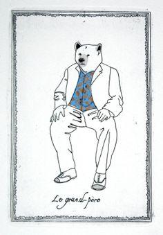Gravures & Estampes | Jeanne Picq | Le grand père | Tirage d'art en série limitée sur L'oeil ouvert